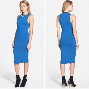 TOPSHOP Contrast Trim Sporty Blue Jersey Dress